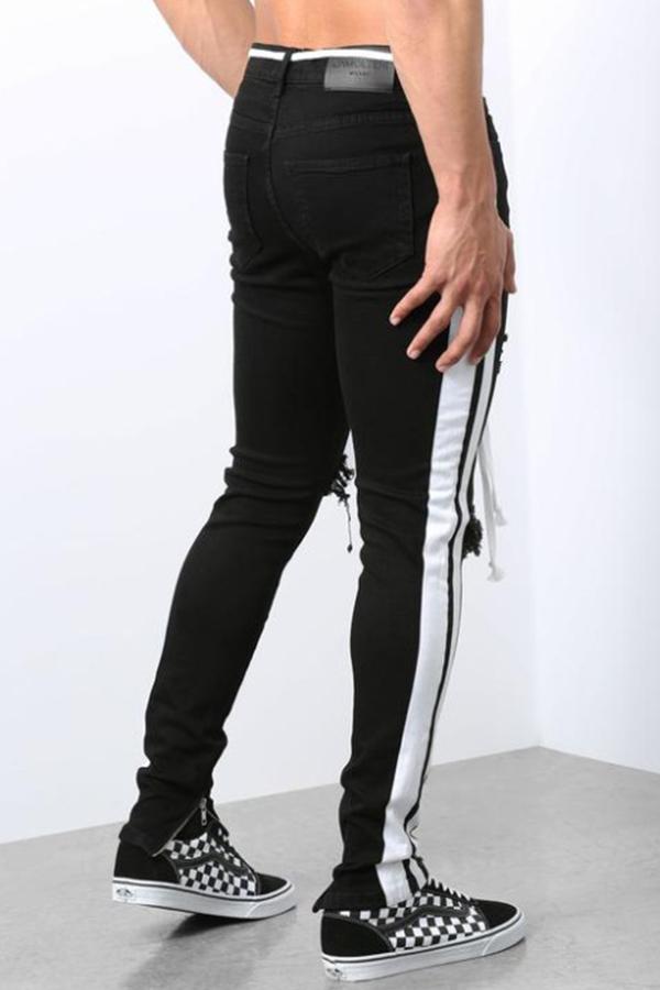 Lovely Leisure Patchwork Broken Holes Black Jeans