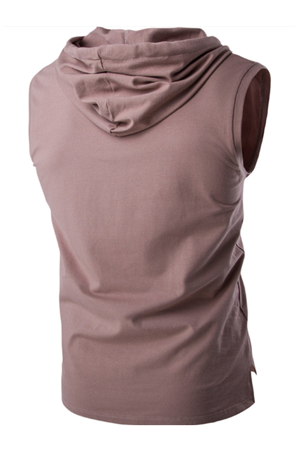 Lovely Casual Hooded Collar Coffee Vest