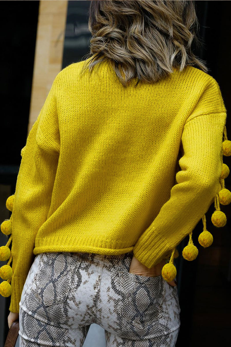 Lovely O Neck Ball Design Yellow Sweaters