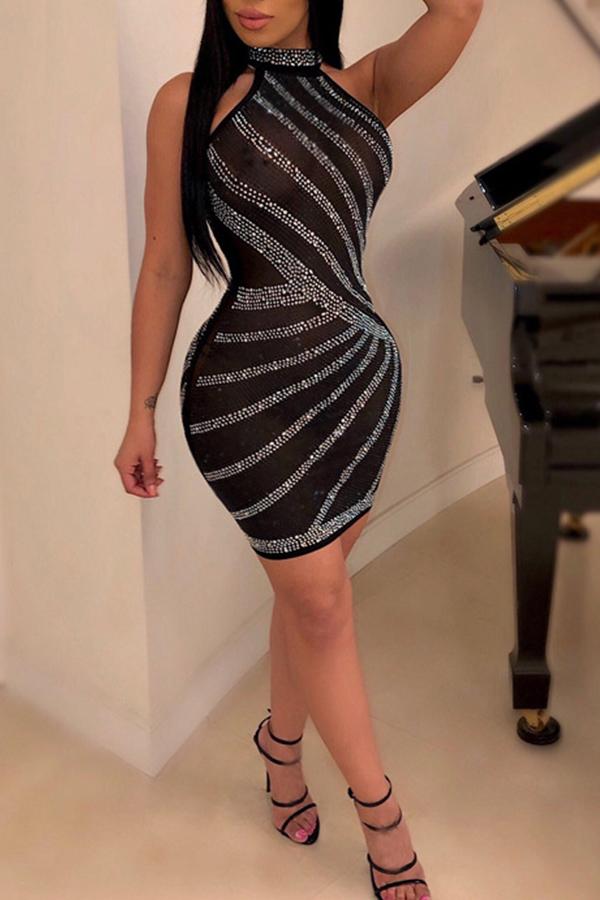 Lovely Casual Sleeveless Hot Drilling Decorative Black Mini Dress