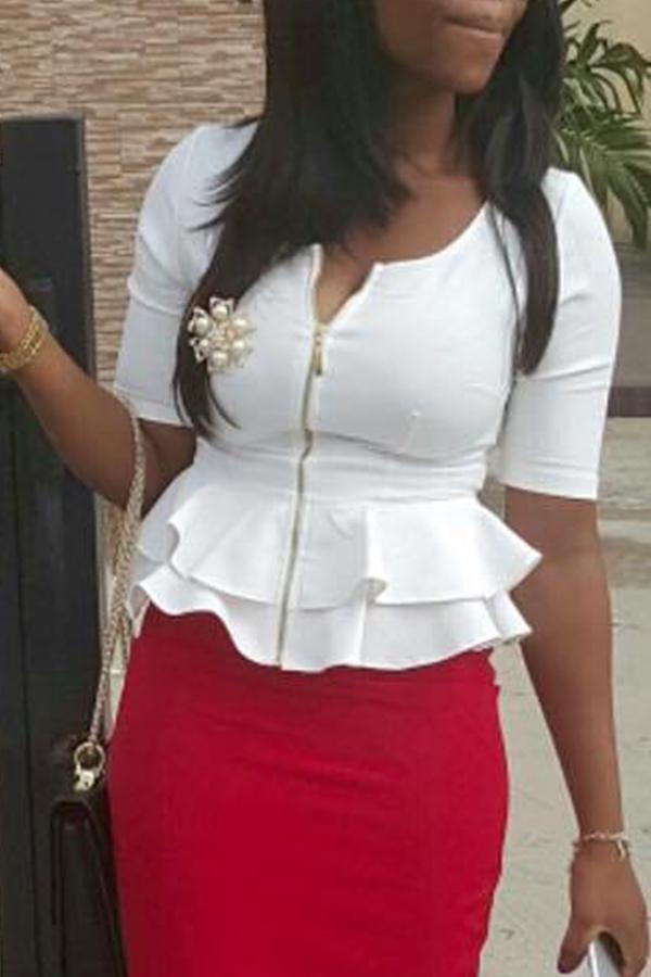 Lovely Casual Zipper Design Flounce Design White Blouse
