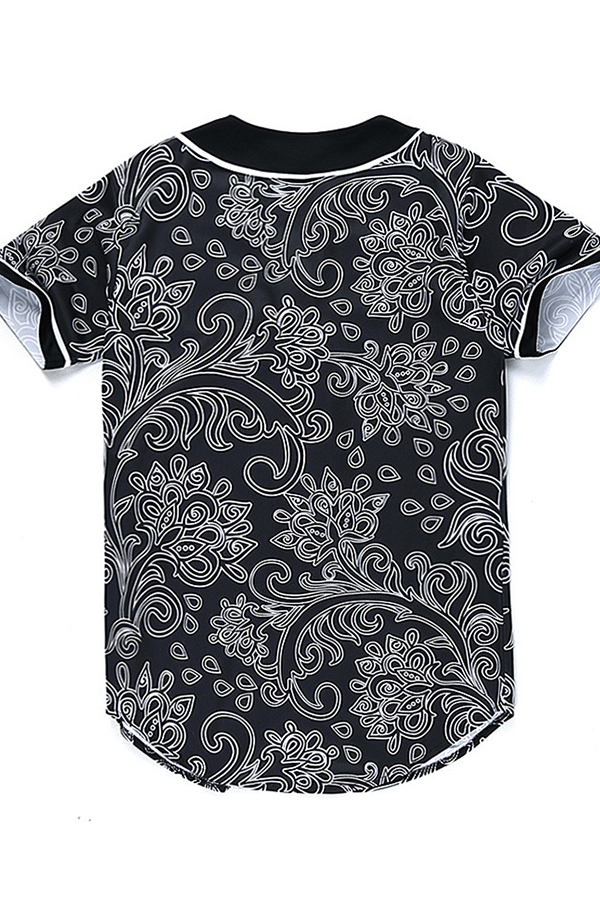 Lovely Chic V Neck Printed Black Shirt