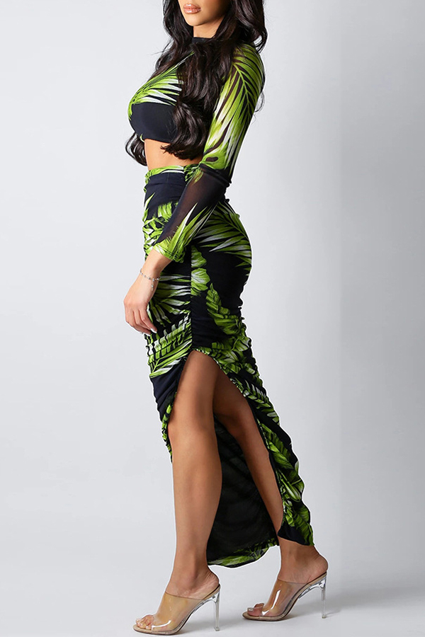 Lovely Bohemian Plants Printed Green Two-piece Skirt Set