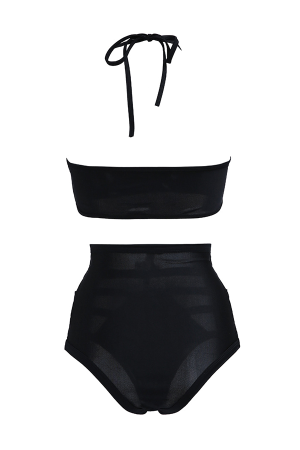 Lovely Hollow-out Black Two-piece Swimwear