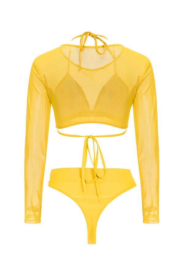 Lovely O Neck See-through Yellow Tankinis