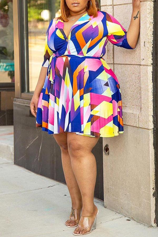 Lovely Trendy Geometric Printed Multicolor Mini Plus Size Dress