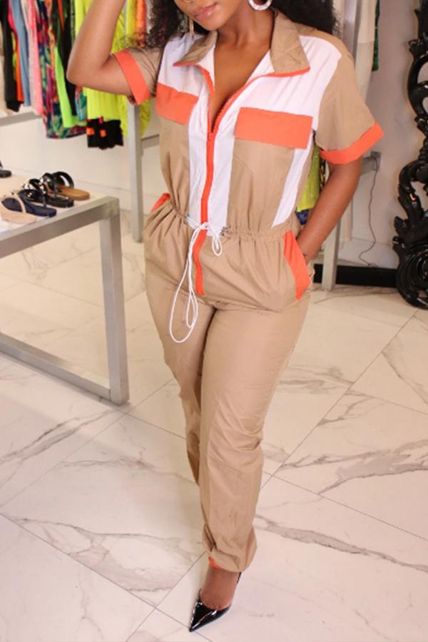 Lovely Stylish Patchwork Khaki One-piece Jumpsuit