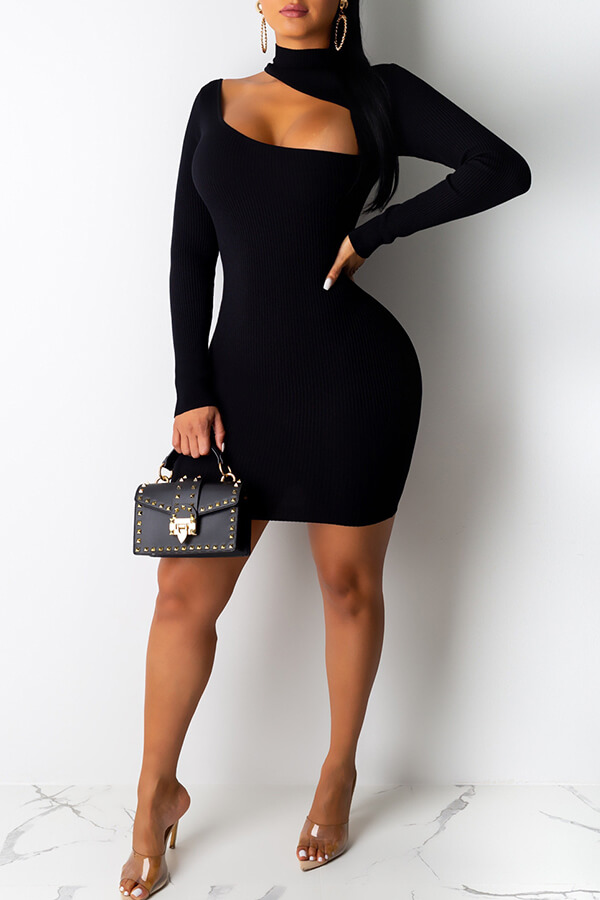Lovely Stylish Hollow-out Black Mini Dress