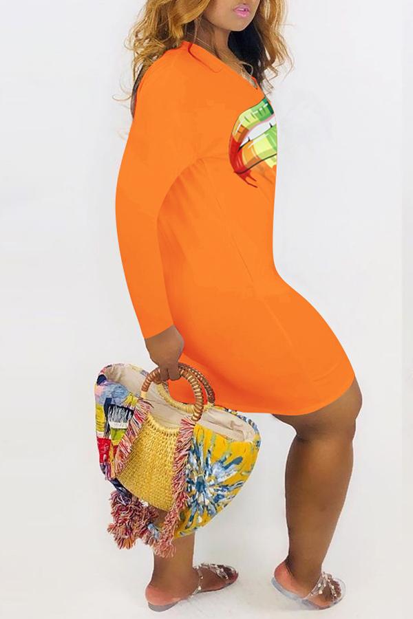 Lovely Casual Lip Printed Croci Mini Dress