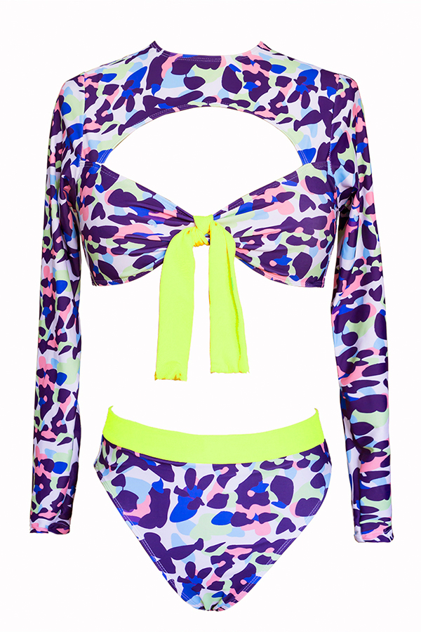 Lovely Trendy O Neck Printed Multicolor Two-piece Swimwear (With Elastic)