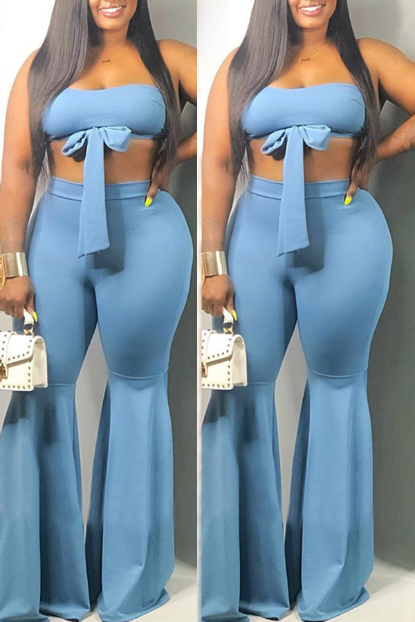 Lovely Trendy Sleeveless Blue Flared Two-piece Pants Set