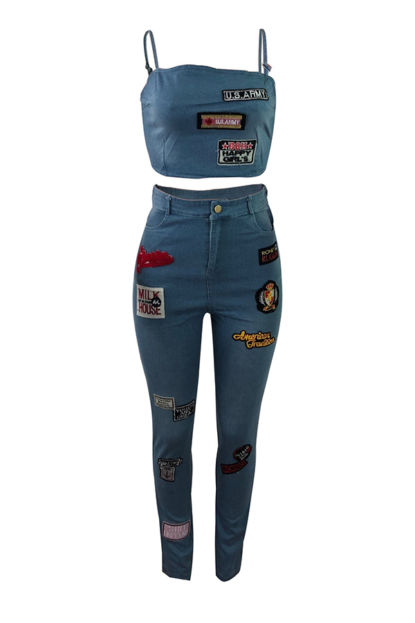 Lovely Casual Spaghetti Straps Sleeveless Blue Denim Two-piece Pants Set