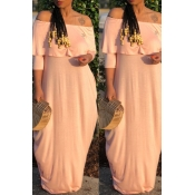 Lovely Casual Off The Shoulder Ruffle Light Pink F
