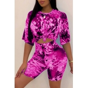 Lovely Casual O Neck Printed Rose Red Two-piece Shorts Set