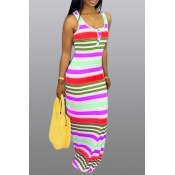 Lovely Casual U Neck Striped Printed Red Floor Length Dress