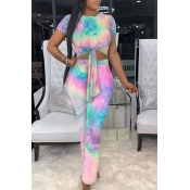 Lovely Casual O Neck Tie-dye Multicolor One-piece
