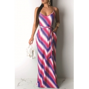 Lovely Casual U Neck Spaghetti Straps Striped Red Floor Length Printed Dress