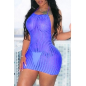 Lovely Sexy Halter Neck Backless Royalblue Mini Dr