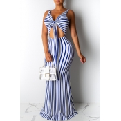 Lovely Casual V Neck Striped Hollow-out White Floo