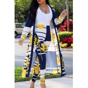 Lovely Stylish High Waist Printed Yellow Two-piece