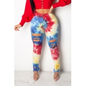 Lovely Stylish High Waist Printed Broken Holes Red