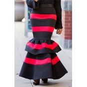 Lovely Stylish Striped Ruffle Design Black Ankle L