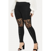 Lovely Casual Lace Patchwork Black Plus Size Leggi
