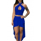 Lovely Sexy Hollow-out Blue Two-piece Skirt Set