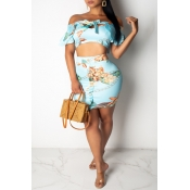 Lovely Bohemian Off The Shoulder Printed Blue Two-
