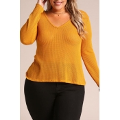 Lovely Casual V Neck Yellow Plus Size Sweater