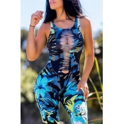 Lovely Sexy Printed Hollow-out Blue One-piece Romp