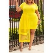 Lovely Stylish O Neck Gauze Patchwork Yellow Knee
