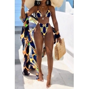 Lovely Printed Multicolor Two-piece Swimwear(With