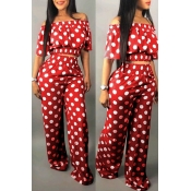 Lovely Sweet Off The Shoulder Dot Printed Red Two-piece Pants Set