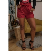 Lovely Casual High Waist Lace-up Red Shorts