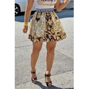 Lovely Stylish Printed Gold Mini A Line Skirt