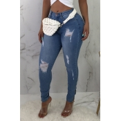 Lovely Stylish Mid Waist Broken Holes Baby Blue Je