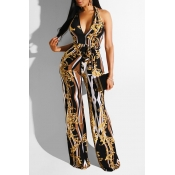 Lovely Trendy Deep V Neck Printed Yellow One-piece