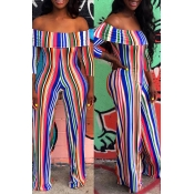 Lovely Chic Striped Printed Multicolor One-piece J