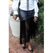 Lovely Sexy Tassel Design Black Ankle Length Skirt