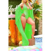 Lovely Deep V Neck Green One-piece Swimwear(With S