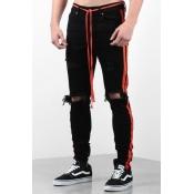 Lovely Trendy Patchwork Broken Holes Black Jeans
