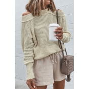 Lovely Dew Shoulder Beige Sweaters