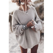 Lovely O Neck Loose Grey Sweater