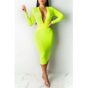 Lovely Casual Deep V Neck Green Mid Calf Dress
