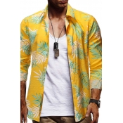 Lovely Casual Plants Printed Multicolor Shirt