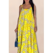 Lovely Sweet Sleeveless Printed Yellow Floor Lengt