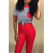 Lovely Casual O Neck Striped Red T-shirt