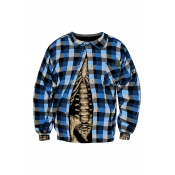 Lovely Casual Plaid Printed Blue Hoodies