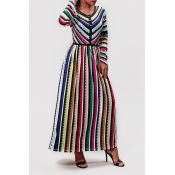 Lovely Trendy Striped Multicolor Ankle Length Dres